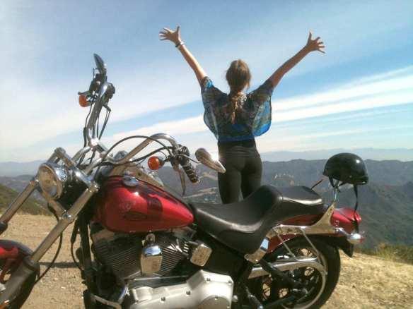 celebrating life on top of topanga with nick and his harley davidson motorcyle