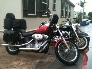 my red 2004 Harley Davidson FXSTi packed and loaded for the trip
