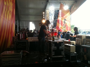 backstage withe Rami Jaffee playin keys with Dave Grohl and the FooFighters at Jazz Fest May 6 2012